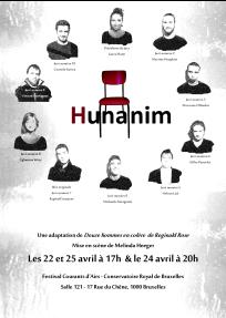 """Affiche du spectacle HUNANIM, adaptation de """"12 hommes en colère"""" de Reginald Rose. Dans le cadre du Festival Courants d'Airs 2015"""